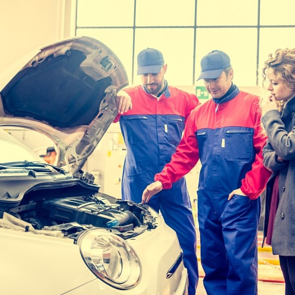 Car checkup in a workshop