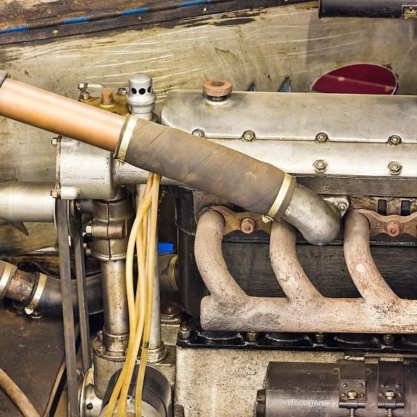 Detail of engine of old historical vintage car
