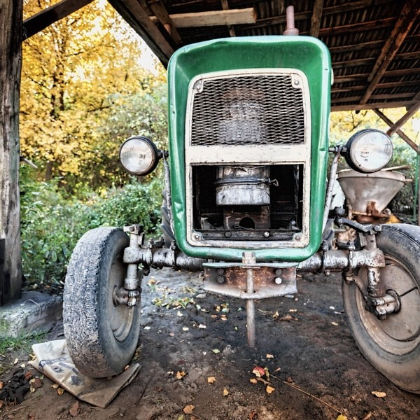 Ancient, used tractor