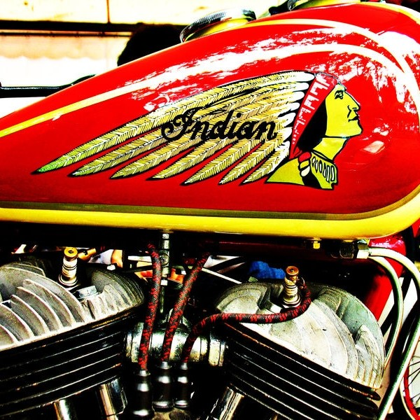 Vintage Indian motorcycle gas tank and engine